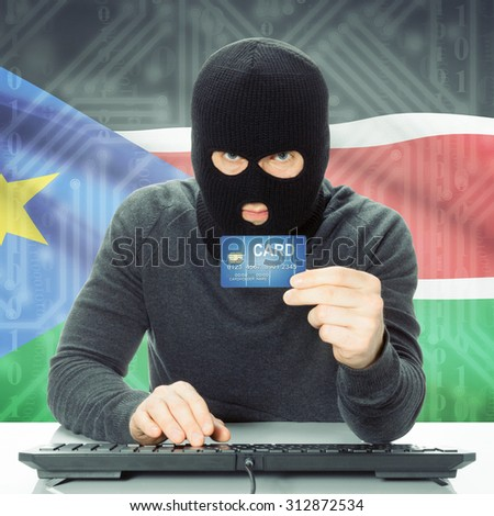 Cybercrime concept with flag on background - South Sudan