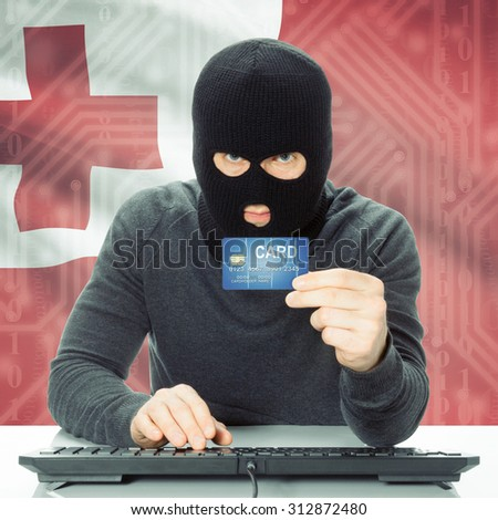 Cybercrime concept with flag on background - Tonga
