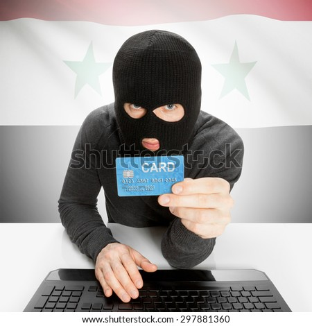 Cybercrime concept with flag - Syria