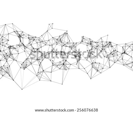 Cybernetic black particles on white background  - stock photo