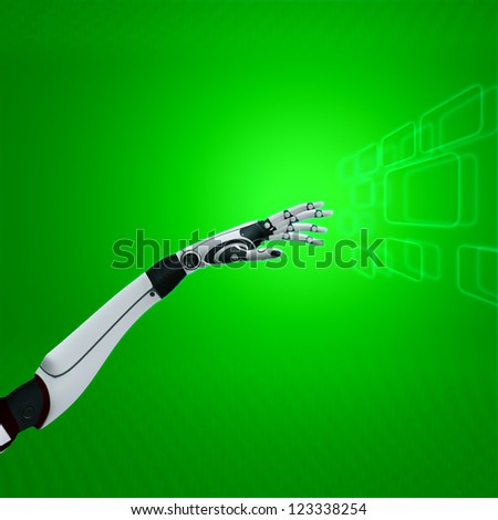 cybernetic hand on abstract background sci-fi robot working with green virtual interface - stock photo