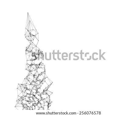 Cybernetic messy particles on white background  - stock photo