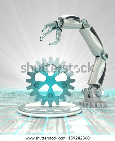 cybernetic robotic hand creation in modern automated industries render illustration - stock photo