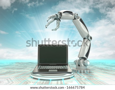 cybernetic robotic hand creation of modern personal computer with cloudy sky illustration - stock photo