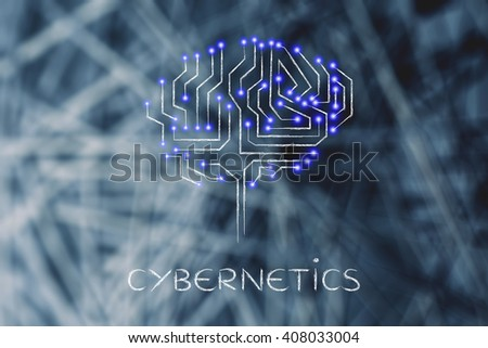 cybernetics: robotic brain made of microchip ciircuits with led lights