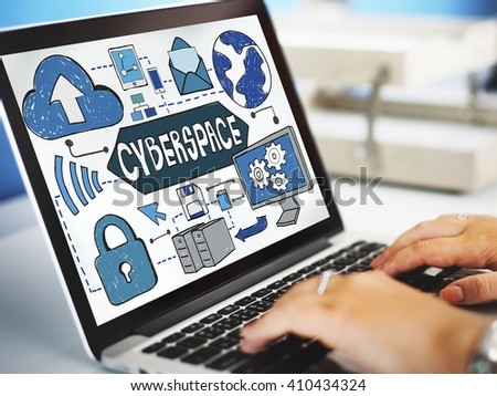Cyberspace Technology Cyber Online Virtaul Reality Concept - stock photo