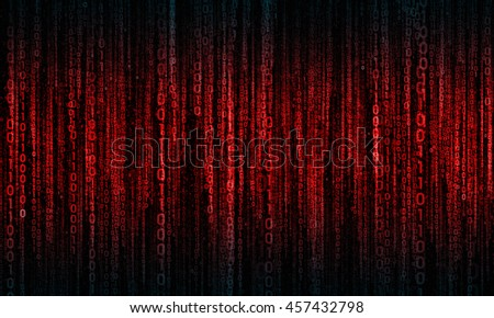 cyberspace with digital lines, binary hanging chain, abstract background with red - blue digital lines - stock photo