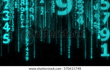 cyberspace with falling digital lines, abstract background with blue digital lines - stock photo