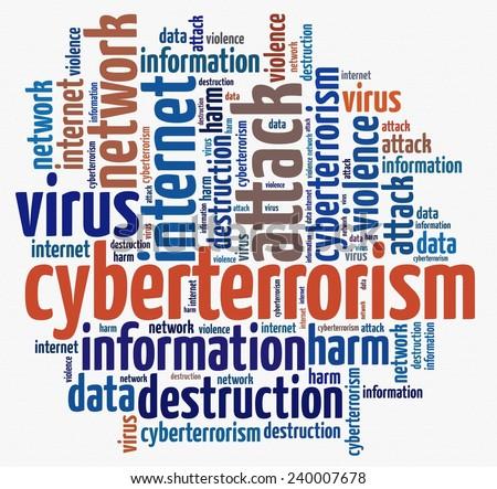 Cyberterrorism in word collage - stock photo