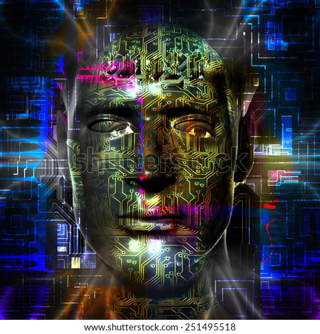 Cyborg artwork with computer electronics - stock photo