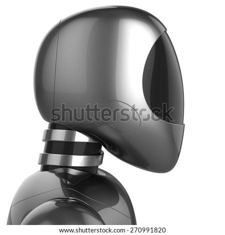 Cyborg bot futuristic robot dummy metallic chrome concept. 3d render isolated on white background - stock photo