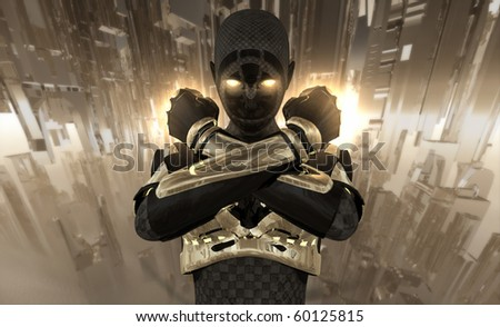 Cyborg crossing her arms - stock photo