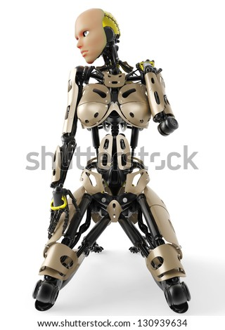 cyborg girl - stock photo