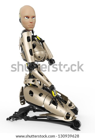 cyborg girl pinup - stock photo