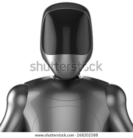 Cyborg robot android futuristic character concept. 3d render isolated on white background - stock photo