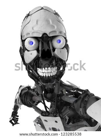 cyborg skull face portrait - stock photo