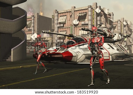Cyborg troopers precede hover tanks as invasion force proceeds through the streets of dystopian city