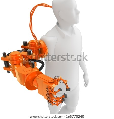 cyborg with arm implant or prosthetic arm - stock photo
