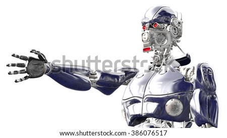 Cyborg with outstretched hand symbolizing the friendly gesture against white background