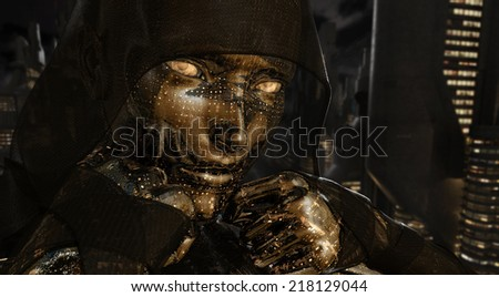 Cyborg woman - stock photo