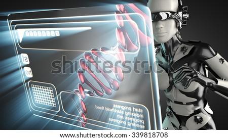 cyborg woman and DNA on hologram display - stock photo