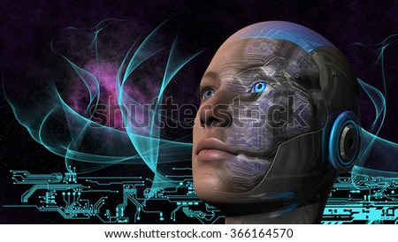 Cyborg woman with deep space and circuit design background - stock photo