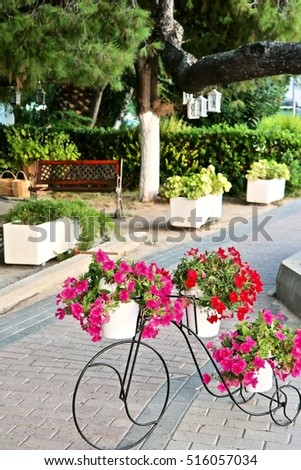 cycle flowerpot with red and rose flowers