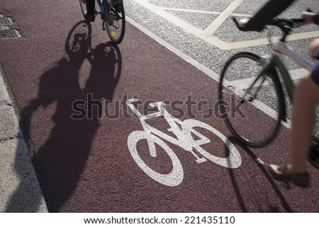 Cycle Lane with Cyclist in Dublin, Ireland - stock photo