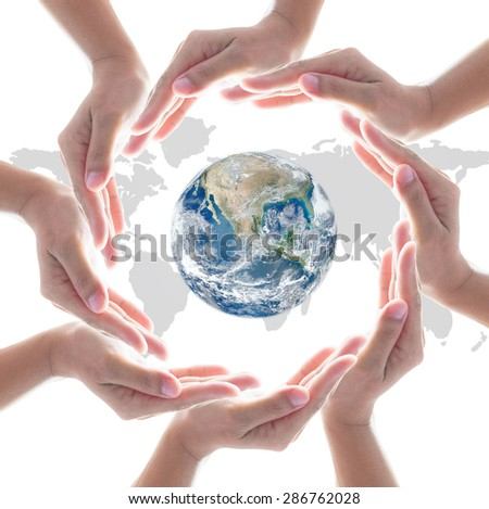 Cycle of isolated cooperative human hands around the globe with world map background: International cooperation CSR business stability sustainability concept :  Elements of the image furnished by NASA