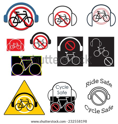 Cycle safety, Ride without headphones graphics set - stock photo