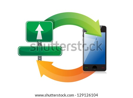 Cycle sign and phone illustration design over white background - stock photo