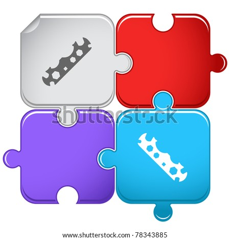 Cycle spanner. Raster puzzle. Vector version is in portfolio. - stock photo