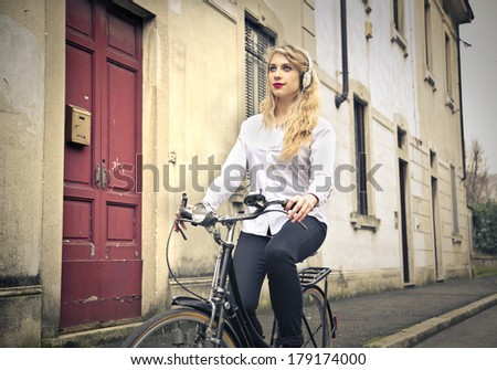 cycling girl - stock photo