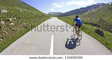 Cycling in france. Col du Glandon, French Alps to the summit.
