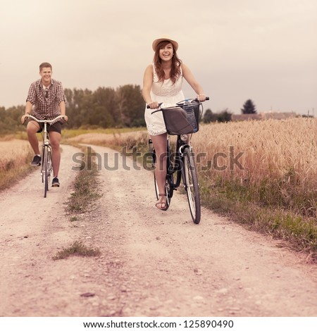 Cycling in summertime - stock photo