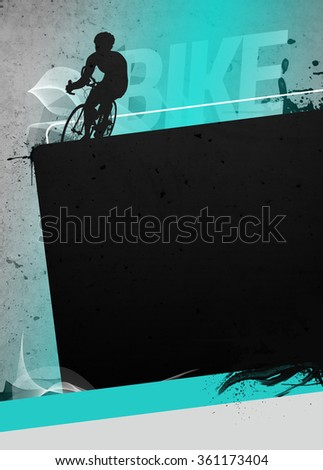 Cycling invitation poster, flyer other advert background with empty space. The character is a 3D rendered model, no real person.