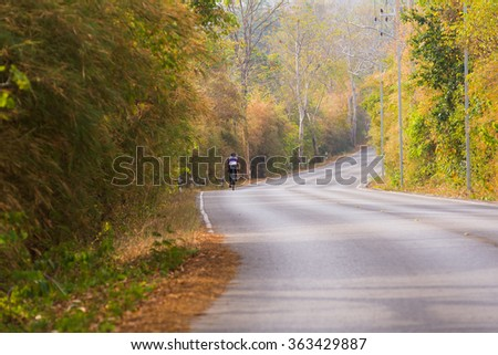 Cycling on beautiful road