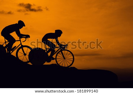 Cycling on the mountain twilight time