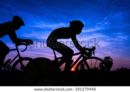 Cycling on twilight time in Thailand Asia - stock photo