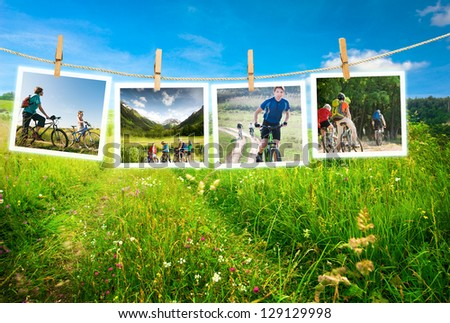 cycling outdoors collage - stock photo