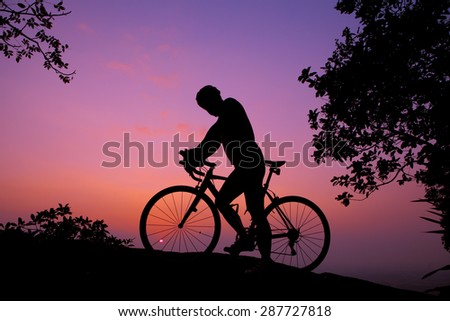Cycling, purple sky