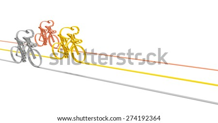 Cycling race sport competition championship concept. Abstract gold, silver and bronze bicycle racers as symbol of sporting competition and winning (background template for illustrating bicycle racing) - stock photo