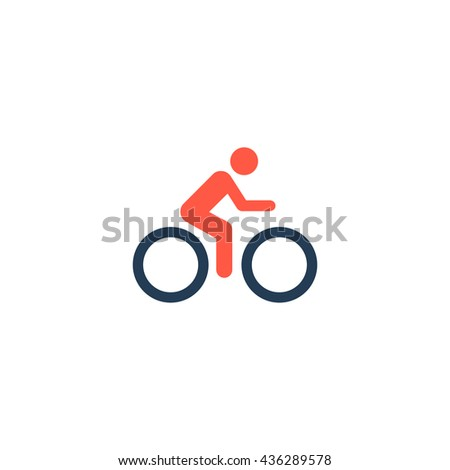 Cycling road. Color simple flat icon on white background - stock photo