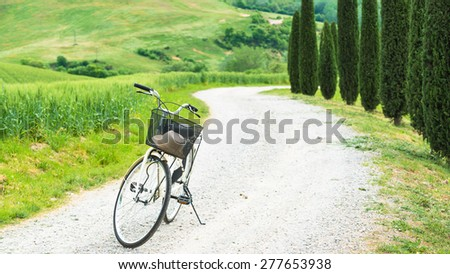 Cycling trip in the spring landscape of Tuscany.