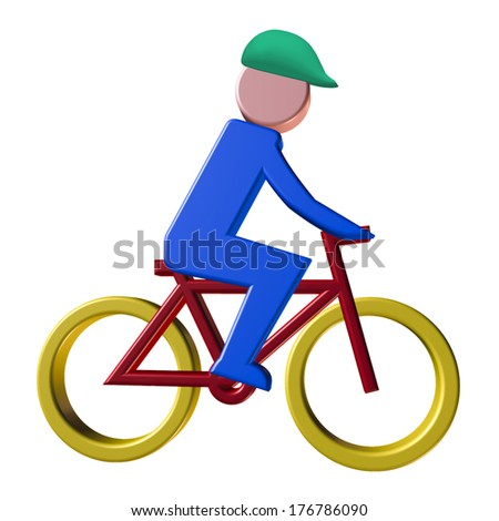Cyclist design with protective helmet in colorful cartoon style for use as an icon or design element. - stock photo