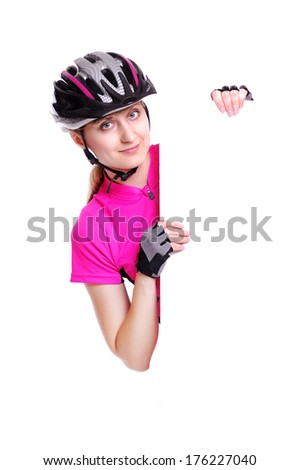cyclist girl holding the vertical blank board on white background - stock photo