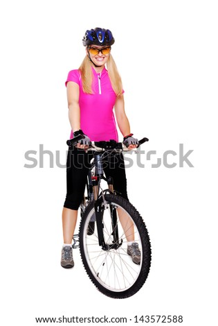 cyclist girl with the bicycle  full length white background
