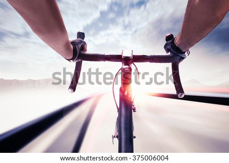 Cyclist in speed - stock photo