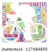 Cyclist info-colorful text graphic arrangement concept in cyclist shape on white background - stock photo