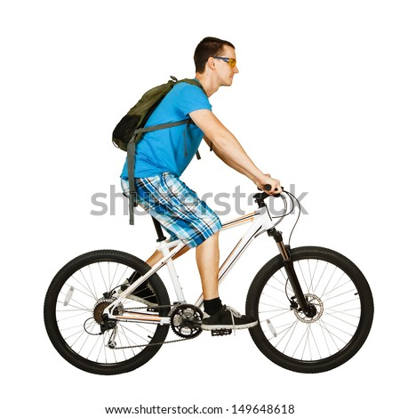 cyclist isolated on white - stock photo